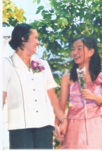 the author, escorting me during the teachers day celebration when she was in grade 6