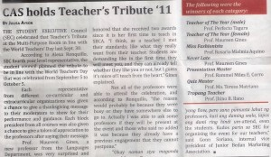 the news article published in the bedan herald, october 2011 issue