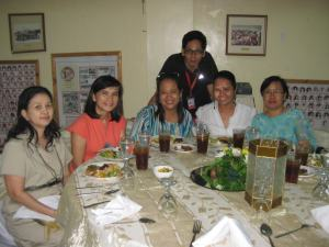 enjoying the sumptuous dinner with friends