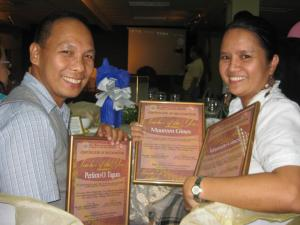 "with prof. perfecto tagura jr., the male ""teacher of the year"" awardee"