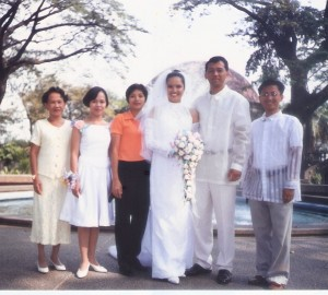 on mywedding day with soc's nanay (mine, too)