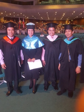 First event photo with Prof. Arnold Aviles, my co-emce; Prof. Paul James De Los Santos, Prefect of Discipline; and Prof. John Paul Domingo, Prefect of Student Activities